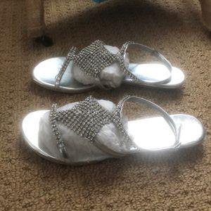 f456f7f76 Kate Whitcomb Shoes   Nib Silver Rhinestone Flat Size 9   Poshmark